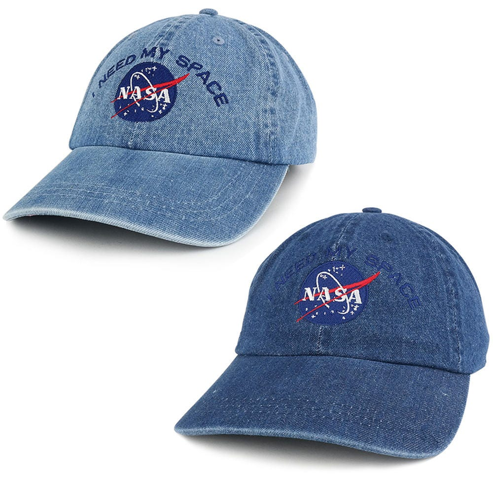 31d2d6cf2 NASA I Need My Space Low Profile Denim Garment Washed Adjustable Cap  (7610-INEEDMYSPACE)