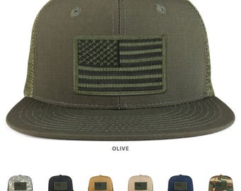 Black Olive American Flag Iron on Patch Flat Bill Ripstop Trucker Mesh Cap - (241-BLACKOLIVE)