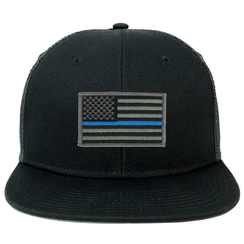 ca7ee49b8 Oversize XXL Thin Blue Line USA Flag Patch Flatbill Mesh Snapback Cap