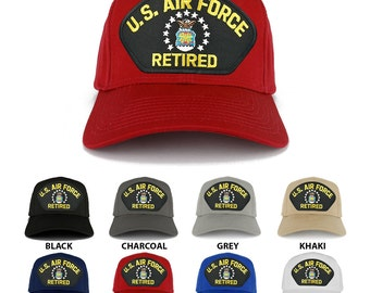 US AIR FORCE Retired Large Embroidered Iron on Patch Adjustable Baseball Cap (27-079-PML123)