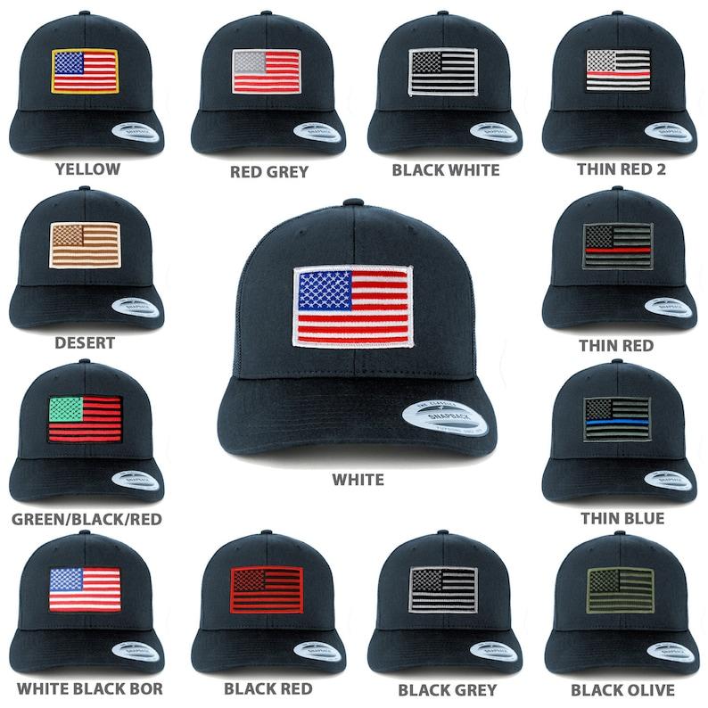 eee8ad3bc40 American Flag Patch Snapback Trucker Mesh Cap Navy
