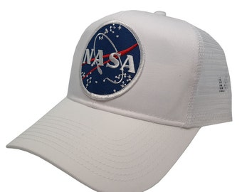 NASA Space Logo Embroidered Iron On Patch Snap Back Cap - White