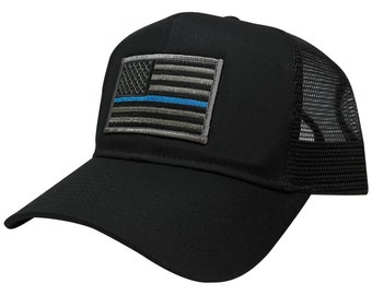 Thin Blue Line Police Law Enforcement Flag Embroidered Patch Trucker Baseball Cap