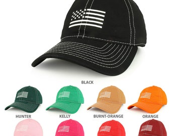 American Flag Embroidered Contrast Stitch Soft Crown Dad Hat(A03-USA4)