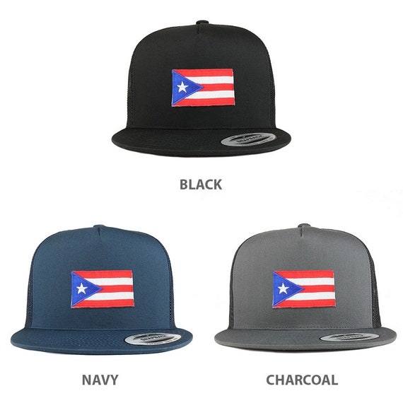 5 Panel Small Puerto Rico Flag Patch Flatbill Mesh Cap  ac98adb9e475