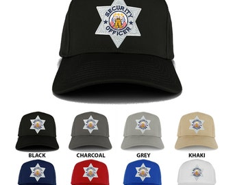 Security Officer Silver Embroidered Iron on Patch Adjustable Baseball Cap (27-079-FCE-103)