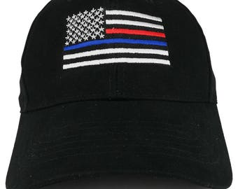 Thin Blue and Thin Red Line USA Flag Embroidered Low Profile Baseball Cap (ROTH-8754)