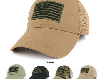 USA American Flag Subdued Olive Embroidered Tactical Patch with Mesh Operator Cap (EC-72064-USA-Blkolv-Mesh)