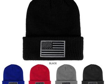 BLACK GREY American Flag Embroidered Patch Ribbed Cuffed Knit Beanie (1545K-BLKGRY)