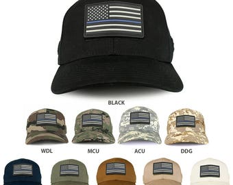 USA Rubber Thin Blue Flag Tactical Patch Structured Operator Baseball Cap (T75-27789)