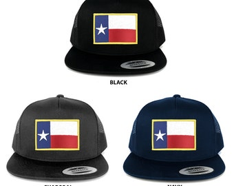 FLEXFIT 5 Panel Texas State Flag Embroidered Iron on Patch Snapback Mesh Back Cap (6006-FPA544)