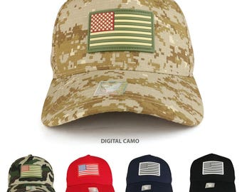 USA Flag Rubber Patch Embroidered 5 Panel Cotton Baseball Cap  (ACE-VM706)