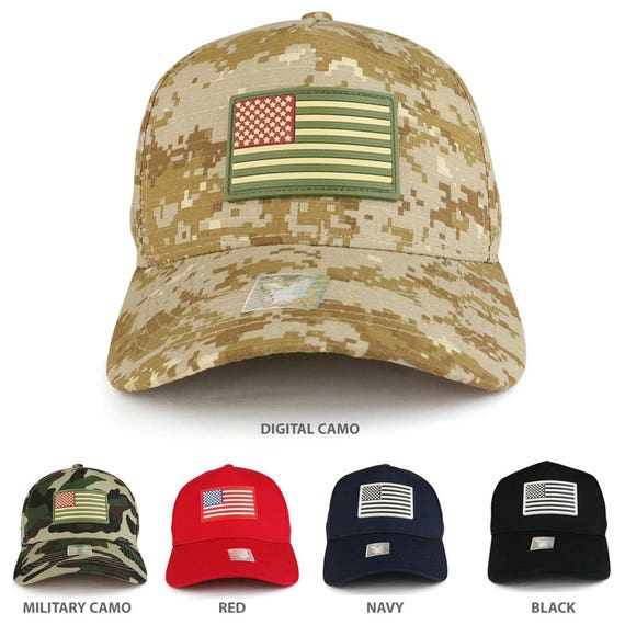 b08c13f33c9 USA Flag Rubber Patch Embroidered 5 Panel Cotton Baseball Cap
