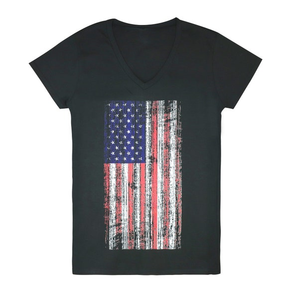 Vintage en détresse US drapeau américain écran cou T Shirt en coton impression V (RD-G03-800)