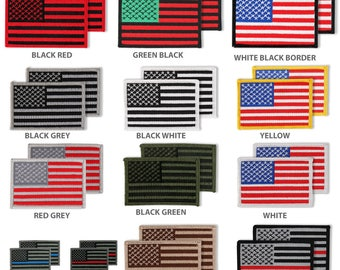 USA American Patriotic Flag Embroidered Iron On Patch 2 Piece Pack (USA-FLAG-2PK)