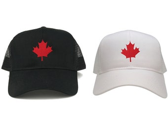 Canada Maple Leaf Embroidered Adjustable Mesh Trucker Baseball Cap - 2 Colors