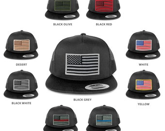 FLEXFIT 5 Panel American Flag Patched Snapback Mesh Charcoal Cap - Charcoal (6006-char)
