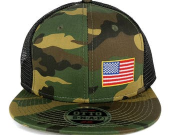 Small Yellow Side American Flag Embroidered Patch Camo Flat Bill Snapback Mesh Cap (153-1120-USA-FLAG-11A)