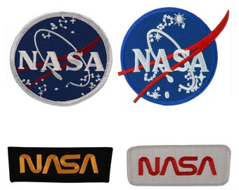 Lot 4 NASA Meatball Insignia Worm Embroidered Iron On Patch, 4 Pack Deal