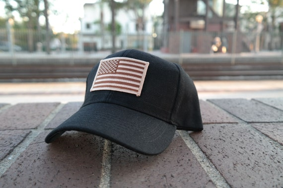 Classic Black Army Cap with Custom USA American Flag Patch  bf0d80aee3d