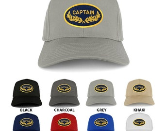Captain Oval Shape Oak Leaf Military Embroidered Patch Adjustable Baseball Cap (27-079-PM200)