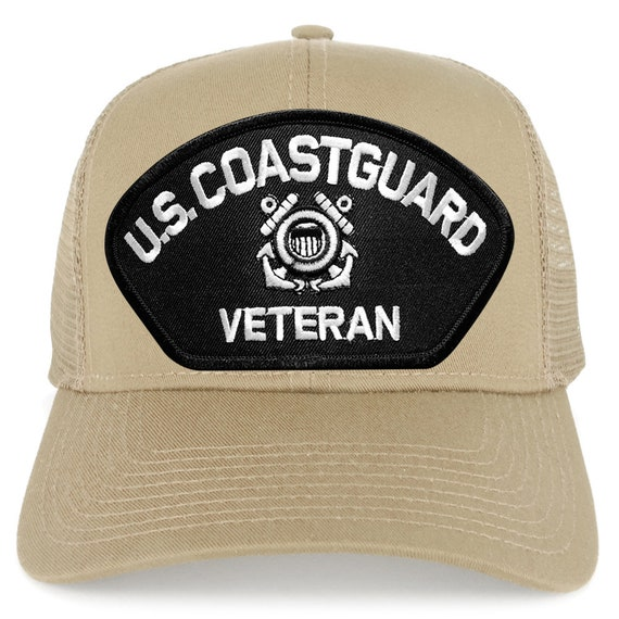 US Coast Guard Veteran Large Embroidered Patch Adjustable Mesh Trucker Cap