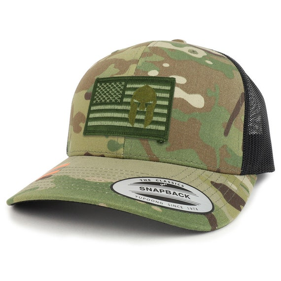f82ffc6605eaf9 Olive usa Flag Spartan Patch Camouflage Structured Trucker   Etsy