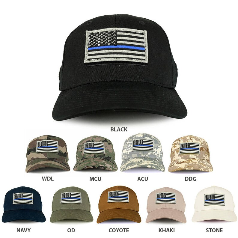 cf24a3d6f USA Thin Blue Line Flag Tactical Patch Structured Operator Baseball Cap  (T75-17789)