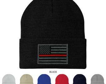 Made in USA - Thin RED Line American Flag Embroidered Patch Long Cuff Beanie (3825-TRL)
