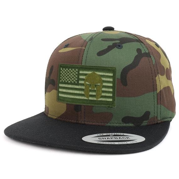 Olive usa Flag Spartan Patch Camo Black Flatbill Snapback  d65aeafd74f