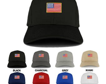 Small Yellow American Flag Embroidered Iron on Patch Adjustable Baseball Cap (27-079-USA-FLAG-11)