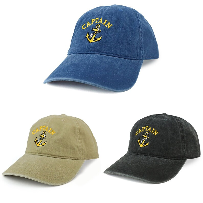 e998c24eacb8a XXL Captain Anchor Logo Pigment Dyed Unstructured Baseball Cap