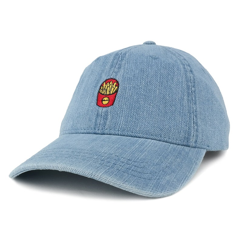 Washed Out Denim French Fries Embroidered Accent Baseball Cap  397a47183c6e