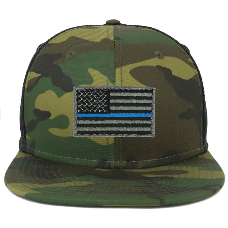 bb8b707a0bca9b Oversize XXL Thin Blue Line USA Flag Patch Camouflage Flatbill | Etsy