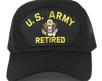 US ARMY Retired Large Embroidered Iron on Patch Adjustable Mesh Trucker Cap (30-287-PML118-USARMY)