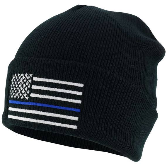 d241bde2c0f Thin Blue Line American Flag Embroidered Winter Watch Cap Cuff