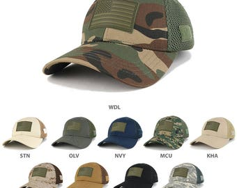 US American Flag Olive 2 Rubber 3D Tactical Patch Low Crown Adjustable Mesh Cap (T90-USA-OLV2-T80)