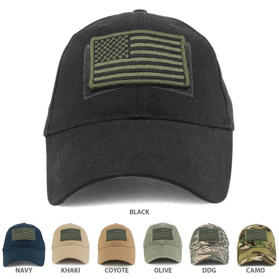 USA Olive Flag Tactical Patch Cotton Adjustable Baseball Cap  7d06b186ed9