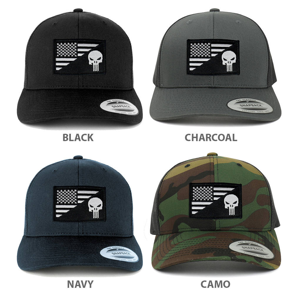 ca924c9b4 Punisher Black White American Flag Embroidered Patch Mesh Back Trucker Cap  (6606-USA-FLAG-59)