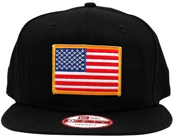 New Era 9FIFTY American Flag Patch Flat Bill Snapback Black Cap - 5 Patch Colors