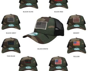 New Era 9FORTY 5 Panel USA Flag Patch Snapback Trucker Cap - CAMO (NE205-CAMO)