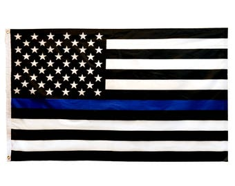 Durable 3 x 5 ft Thin Blue Line USA Print Flag (TBL-AMERICANFLAG)