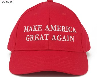 Made in USA Donald Trump Structured Cotton Cap - Make America Great Again Embroidered