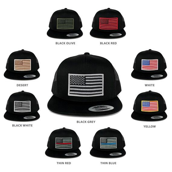 FLEXFIT 5 Panel American Flag Patched Snapback Mesh Cap  47cc21f0d9d