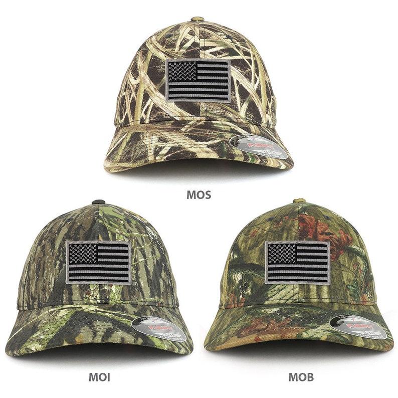 04cd4d06e172e XXL Oversized Mossy Oak Black Grey American Flag Patch Flexfit