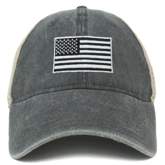 XXL Oversize Grey American Flag Embroidered Cotton Pigment Dyed Cap FREESHIP