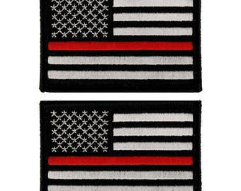 Thin Red Line American Flag Embroidered Hook and Loop 3x2 Patch - 2 Pack (TBL-TRL-PTC-1)