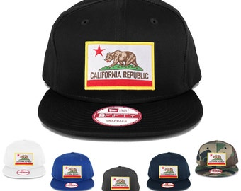 New Era 9FIFTY California State Flag Embroidered Patch Flat Bill Snapback Cap (NE400-FPA-505)