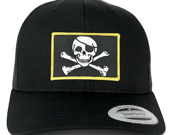FLEXFIT Jolly Rogers Military Skull Embroidered Patch Snapback Mesh Trucker Cap - Black (6606-PM507-BLACK)