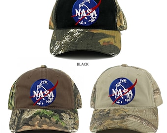 NASA Insignia Embroidered Patch Mossy Oak Realtree Camo Adjustable Cap  (C807-INSIGNIA)